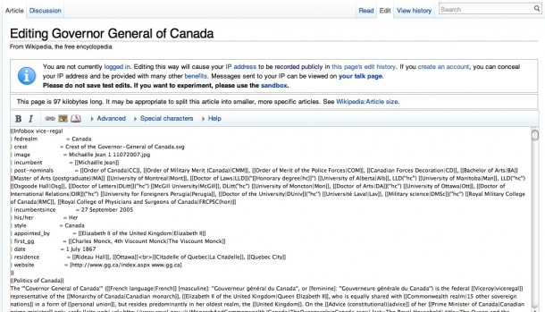 The Wikipedia editing interface