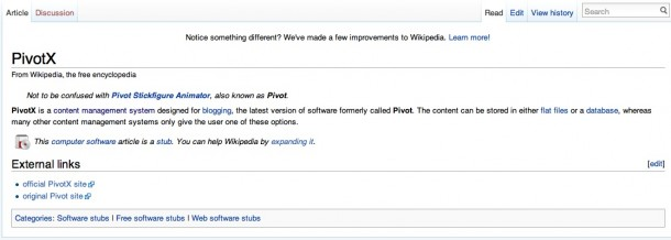 PivotX entry on Wikipedia