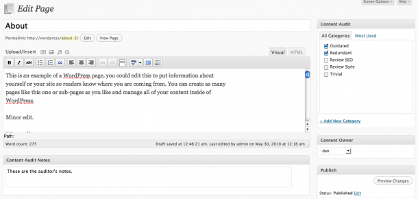 Content Audit plugin