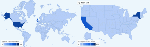 The geography of content strategy Google searches