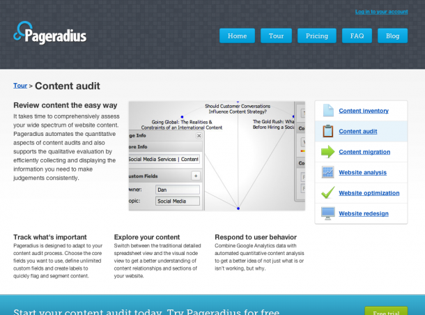 Pageradius screen grab